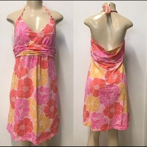 Tommy Bahamas Pink floral peach Halter dress Xs